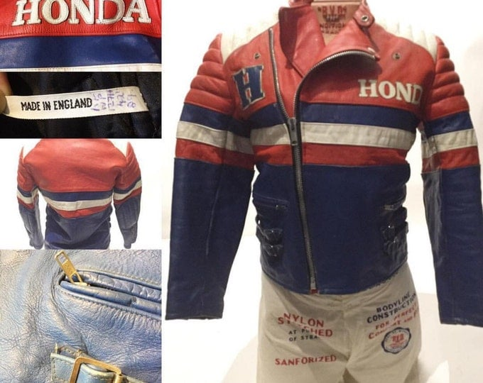 Vintage European Racing Jacket, Motorcycle. Size 40. Honda.(LJ-7)