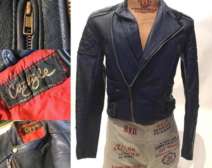 Vintage European Blue Leather Motorcycle Jacket, Small (LJ-6)
