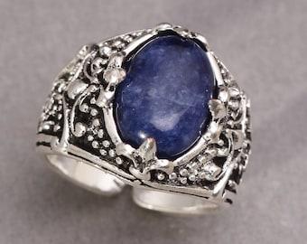 Sodalite Ring Mens Silver Ring Blue Ring