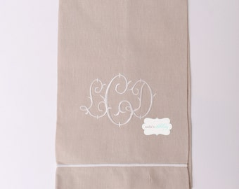 Natural Linen Guest Towel with Ivory Accent with Monogram