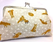 clutch purse - welcome to the cub- fox   -   8 inch metal frame clutch purse - large purse - japsnese linen- kiss lock clutch