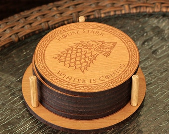 Game Of Thrones Coasters, GOT Coaster, GOT, Jon Stark, House Stark, Jon Snow, Coasters