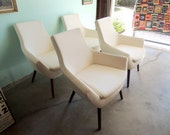 Reserve-Sherilyn-MID CENTURY MODERN Style Pair of White Vinyl Lounge Chairs (Los Angeles)