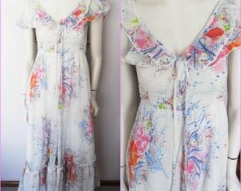 Vtg.70s White Blue Pink Floral Ruffle Maxi Dress.Small.Bust 36.Waist 28.