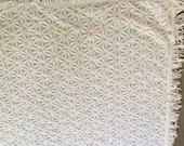 "Vintage Chenille Bedspread / BrightWhite / FlowerPattern / 104""X 96"""