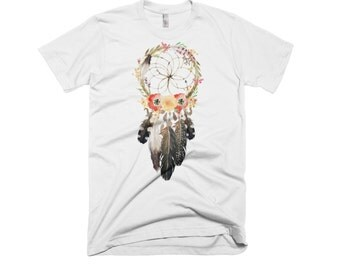 Dreamcatcher with flowers  and feathers crew neck shirt shirt. Cowgirl/Rodeo/Hippie/T-shirt/western/boots/hats/texas/