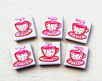 Teacup Magnet, Fridge Magnet, Cup of Tea Magnet, Stationary Magnet, Gift for Teacher, Refrigerator Magnet