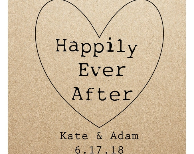 Kraft Wedding Sticker Labels- HAPPILY EVER AFTER - 2in x 2 in- Set of 20 blank or with custom printing