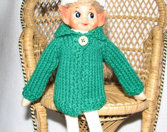 Elf Sweater - Hand Knit - in Christmas Green Wool - RTG