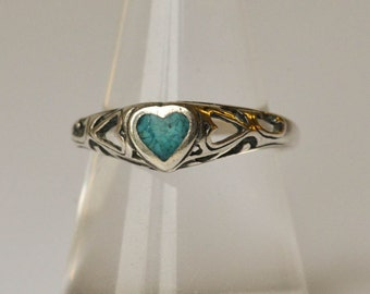 Turquoise and Sterling Ring Heart Ring Vintage Wheeler Mfg Silver Ring Size 9