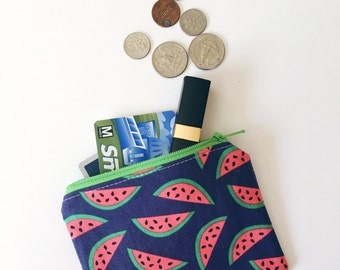 watermelon coin purse, navy wallet for women, gift card holder, credit card case, small wallet, change pouch, small gift under 20