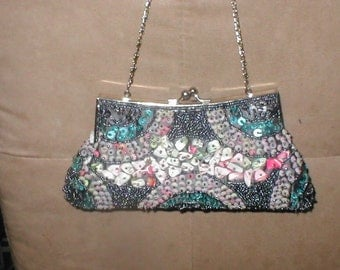 Vintage Hand Made Multi Color Beaded Purse