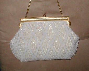 Vintage White & Gold Beaded Evening Bag Purse