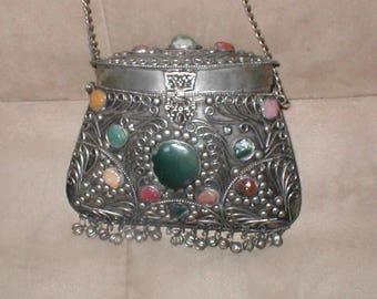 Vintage Sajai Silver Metal Purse with Semi Precious Stones
