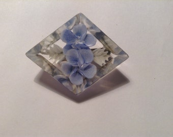 Vintage Plastic Brooch, 1940s, Flower, Blue