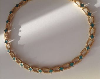 Vintage gold tone necklace 1960s inlaid enamel turquoise