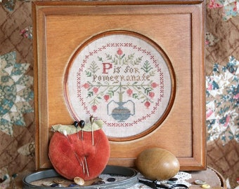 P is for Pomegranate... The Alphabet Series #4 : Cross Stitch Pattern by Heartstring Samplery