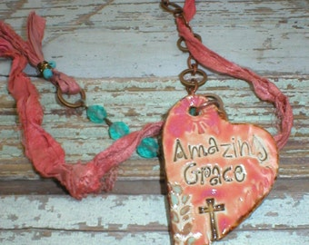 Beachy Boho ~AMAZING GRACE~ Necklace Vintage Rosary Beads Sari Silk Ribbon Purfume/Essential Oil Diffuser