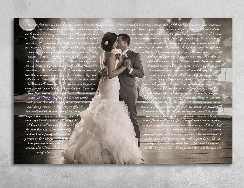 Wedding Ceremony Gift: Wedding Vows Framed Anniversary Gift Wedding Vow Art