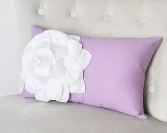 Baby Nursery Decor Lilac Lumbar Pillow. White Dahila on Lilac Lumbar Pillow 9 x 16