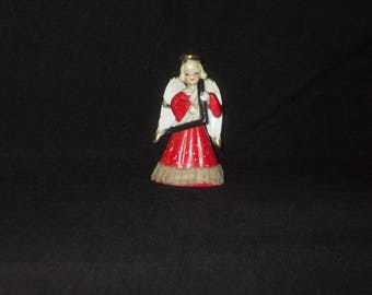 Vintage Japan Christmas Ceramic Musician Angel Girl Figurine Lace Trim