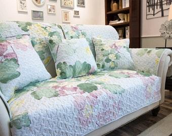 Fresh Floral Sofa Cover Spring Flower Couch Slipcover Loveseat Cover Cotton  Light Mint Blue Light Mint