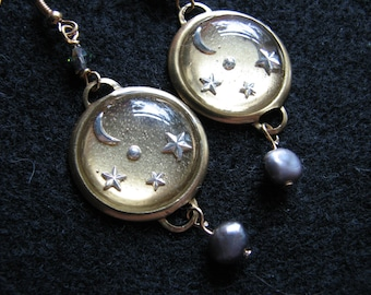 Moon and star earrings | resin | brass | fresh water pearl | gold | night sky