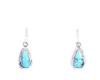 RARE #8 TURQUOISE Earrings Sky Blue Sterling Teardrops NewWorldGems