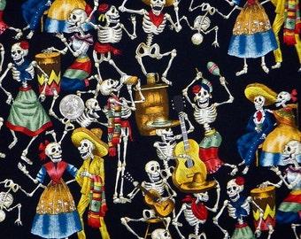 "Day of the Dead ""Fiesta de los Muertos"" Black- Alexander Henry Skeleton 1 Yard Fabric"