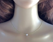 Simple Floating Necklace, Small Pearl Necklace, Bridesmaid Pearl Necklace, Tiny Pearl Necklace, Minimal Pearl Necklace
