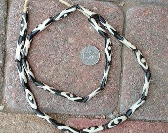 Ghana Pipe Bone Beads: Batik  7x29mm