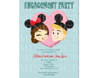"Retro Disney Engagement Couple Invitation (Digital File 5"" by 7"")"