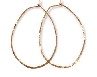 "Gold Hoop Earrings - Thin Gold Hoops - Oval Hammered Gold Fill / Sterling Silver Hoops - 2"" Large Hoops - Rose Gold Hoops - Straight Through"