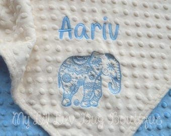 Personalized baby blanket - ethnic elephant baby blanket - gender neutral baby blanket - baby shower gift - stroller blanket with name