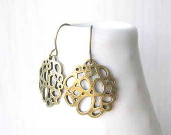 Brass Dangle Earrings - Mod Jewelry, Modern, Geometric, Drop, Simple, Gold Toned, Metal, Contemporary, Antiqued