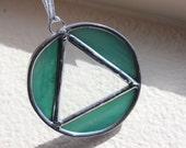 RECOVERY SUNCATCHER AA- Deep Seafoam Green Triangle in Circle Sobriety Gift, Gift for Sponsor, Recovery Gifts,Sobriety Gift, Soberversary