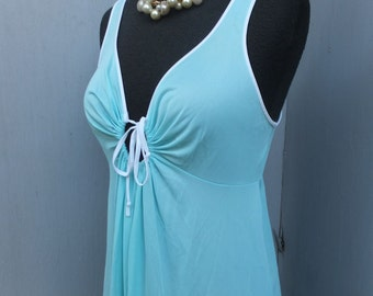 Vintage Vassarette Night Gown, Key Hole Bodice, Aqua. Long Floor Length Gown w/White Accents