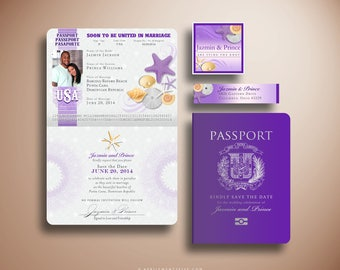 JAZMIN Passport Style Save the Date Card