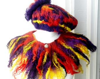 Felted  set-  hat and collar 100% wool