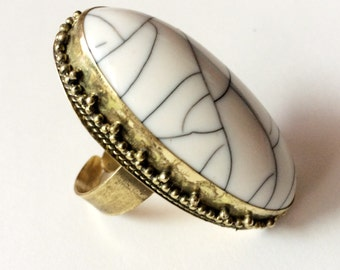 Bohemian Ring,White Gold  Statement Ring,Gold Chunky Ring,Adjustable jewelry,gypsy ring by Taneesi