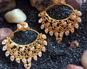 Gold Earring Chand Bali Earring 22K Gold Plated Earring,Fine Jewelry,Kundan,Gemstone jewelry,bridal earring,post chandelier TANEESI C50399