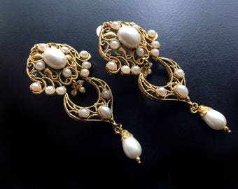 Pearl Chandelier Earrings, White Gold Bridal Earrings,Gold plated-Kashmiri wedding Jewelry-Bridal collection by Taneesi YEP243P