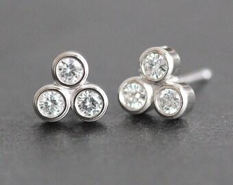 Moissanite Trio Stud Earrings in 14K Solid White Gold Setting - Bezel Set Post Earrings - Ethical Diamond Alternative