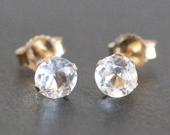 White Topaz Stud Earrings in 14K Solid Gold Setting -5mm Gemstones - Post Earrings - Diamond Alternative