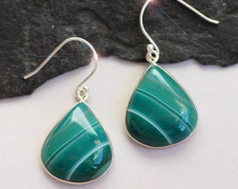 Cool Green - Beautiful Green Banded Agate Drop Sterling Silver Earrings