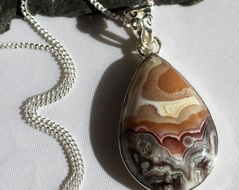 Sunset Mountain - Crazy Lace Agate Sterling Silver Necklace