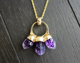 Amethyst Necklace Gold Amethyst Necklace Boho Necklace Crystal Point Necklace Druzy Necklace Hippie Necklace Boho Jewelry Amethyst Jewelry