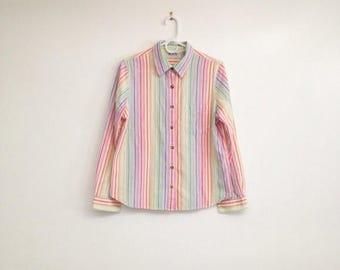 ON SALE Vintage 1980s Striped Rainbow Collared Shirt