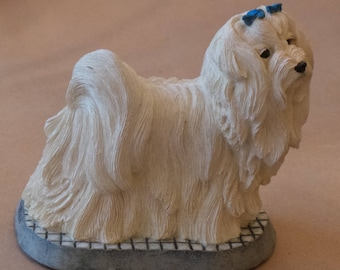 Living Stone Maltese on Base dog figurine white dog stone figurine gift for dog lover pet home decoration