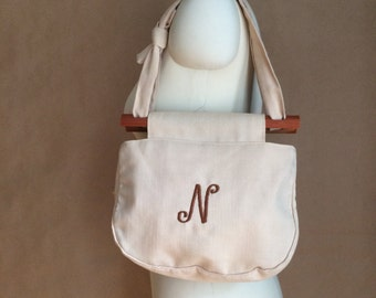 vintage 80's monogram purse / handbag / canvas tote / N / Nancy Natalie Naomi...